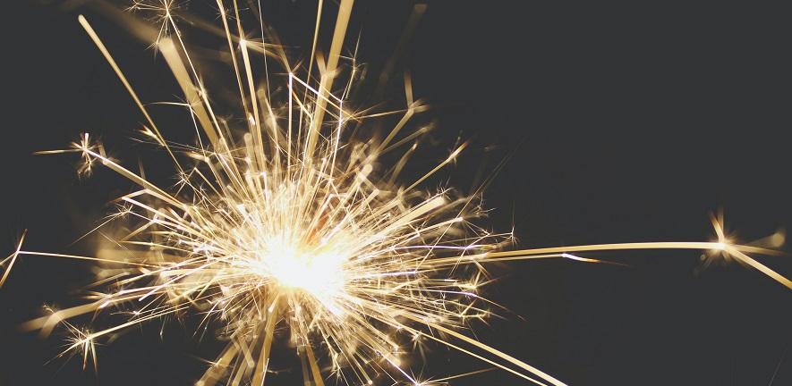 Celebratory photo of sparkler